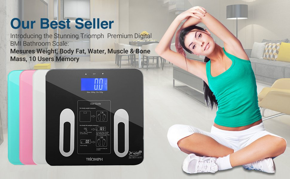 Digital Bathroom Scale LCD Large Display 6mm Tempered Non-Slip Glass Accurate Body Weight Scale Smart BMI Body Fat Scale Monitor with 10 Users Memory Mode 400 Pounds