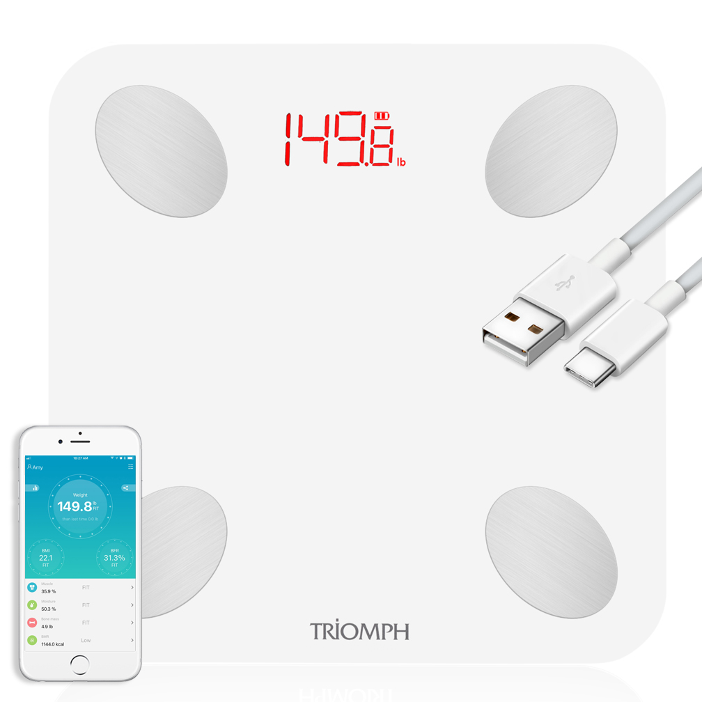TRSC21  Triomph Rechargeable Bluetooth Smart Body Fat Scale